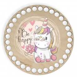 """""""Be Happy"""" Wooden Base"""